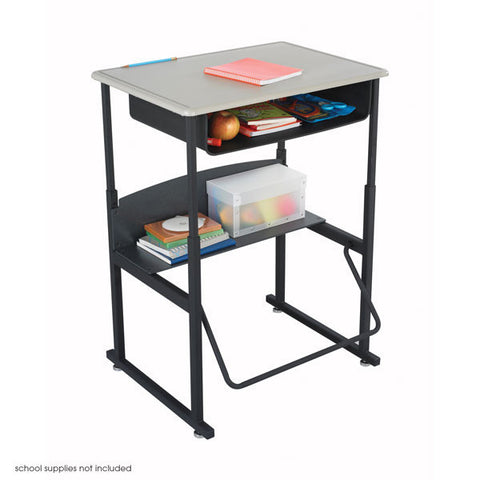 AlphaBetter Stand-Up Student Desk with Book Box in Beige
