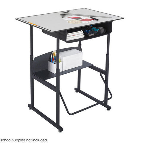 AlphaBetter Stand-Up Student Desk with Large Top & Book Box in Beige