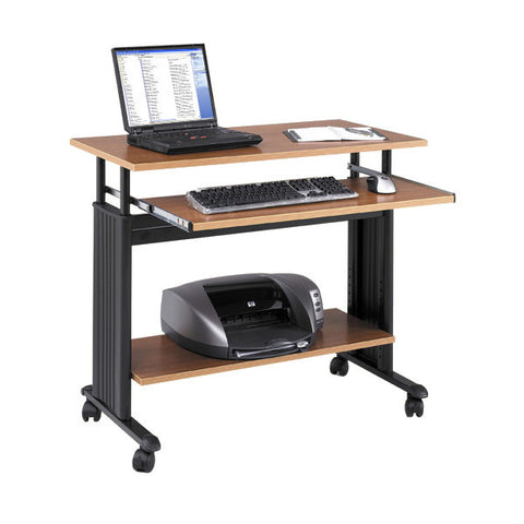 "Adjustable Computer Workstation Table with Keyboard Tray - 35"" W - Medium Oak"