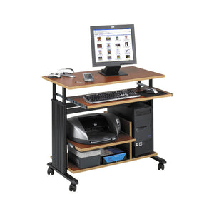 Mini-Tower Adjustable Height Computer Cart Desk - Cherry