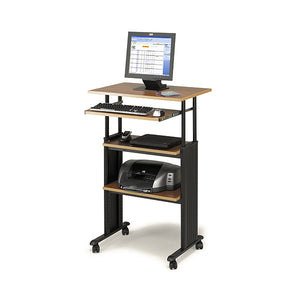 Adjustable Stand Up Computer Desk - Oak / Black