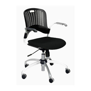 Sassy Swivel Chair with Upholstered Seat - Black