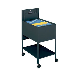 Legal-Sized Locking Tub File Cart - Black