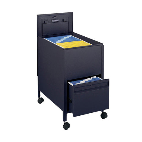 Letter-Sized Locking Tub File Cart with Drawer - Black