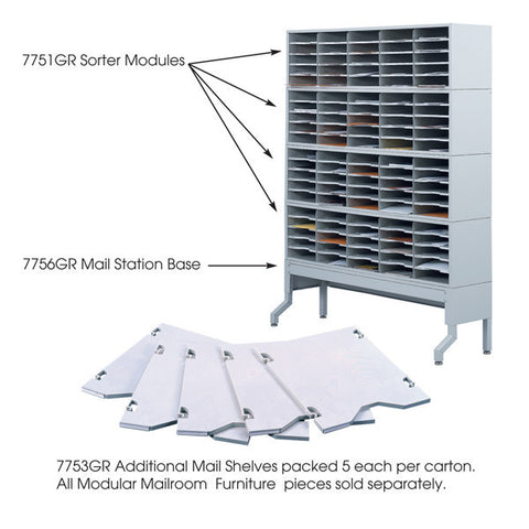 Additional Shelves for Mail Sorter Module - 5 Per Box - Grey