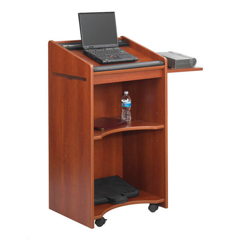 Mobile Executive Lectern with Multimedia Shelf