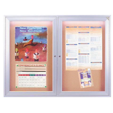 "Two Door  Enclosed Cork Bulletin Board  - 36"" x 48"" Satin Aluminum with Light"