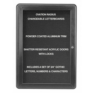 "Enclosed Letter Board, Single-hinged door, 34"" H x 24"" W"