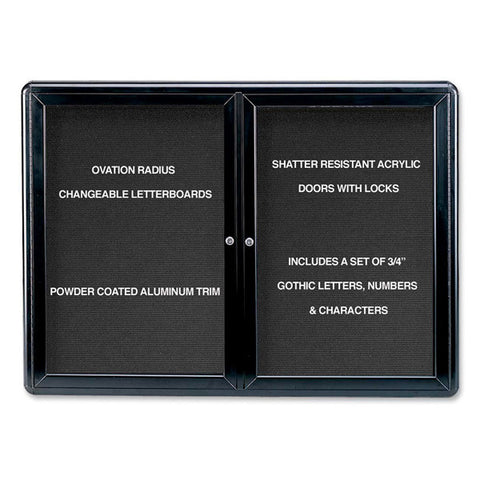 "Enclosed Letter Board, Two Door Hinged, 34"" H x 47"" W"