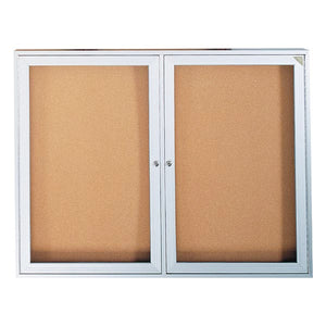 Enclosed Bulletin Board, Two Door for Indoor Use