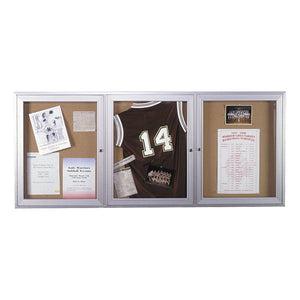 Enclosed Bulletin Boards, Three Door for Indoor or Outdoor Use