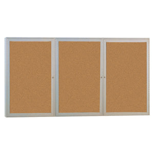 Enclosed Bulletin Board, Three Door for Indoor Use