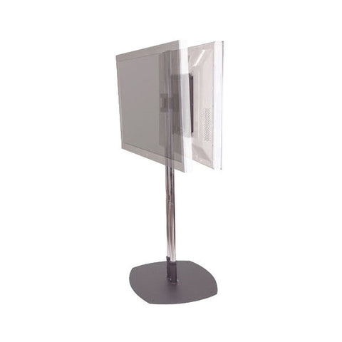 "Dual LCD TV Floor Stand with Chrome Poles - for 24"" to 61"" Displays"