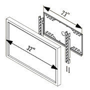 "23"" Wall Mount, Furniture Mount Adaptor Plate for 24""-32"" LCDs"