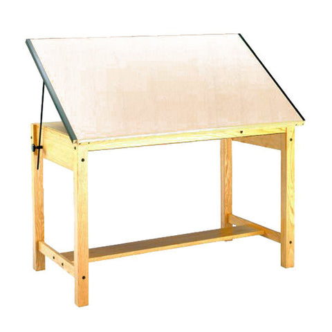 Four-Post Wood Drafting Table, with Tool Drawer and Shallow Paper Drawer
