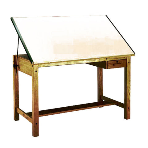 Four-Post Wood Drafting Table, with Tool Drawer