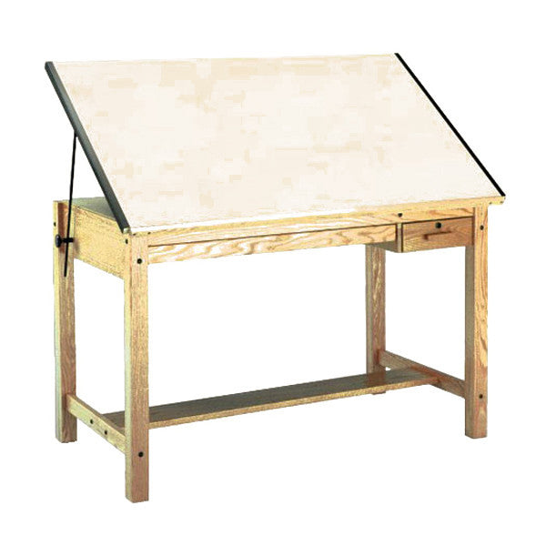 ... Four Post Wood Drafting Table, With Tool Drawer ...
