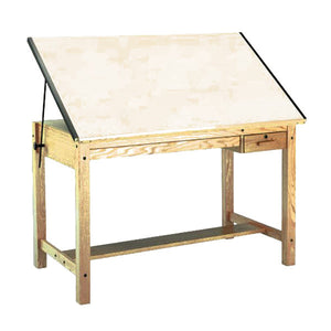 Four Post Wood Drafting Table, With Tool Drawer