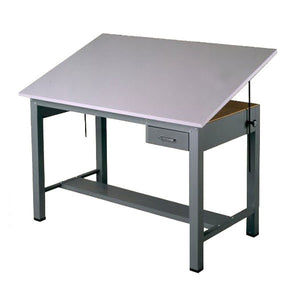 Steel Four-Post Drafting Desk, with Tool Drawer, Economy