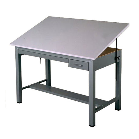 Steel Four-Post Drafting Desk, with Tool and Shallow Drawers, Economy