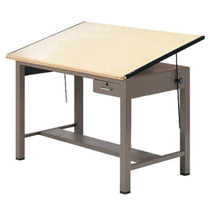 Steel Four-Post Drafting Table with Tool Drawer
