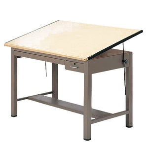 Steel Four-Post Drafting Table with Tool and Shallow Drawer