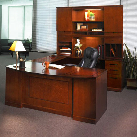Sorrento Executive Office Desk with Credenza, Hutch, and Bridge in Bourbon Cherry