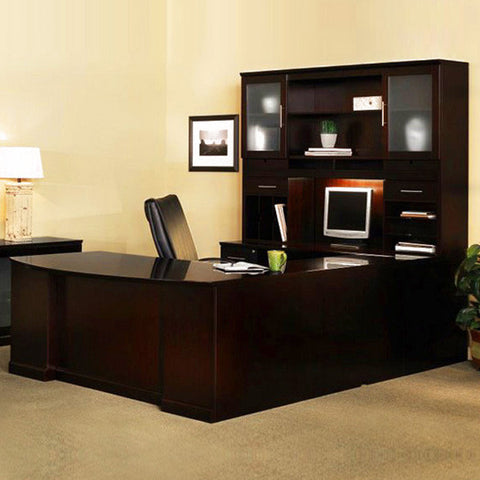 Sorrento Executive Desk with Credenza, Hutch, and Bridge in Espresso