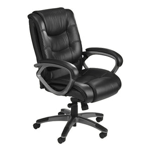 Ultimo EZ-Assemble Executive Leather Office Chair - Mid-Back - Black