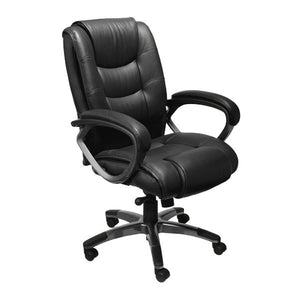 Ultimo EZ-Assemble Deluxe Leather Executive Chair - High Back - Black