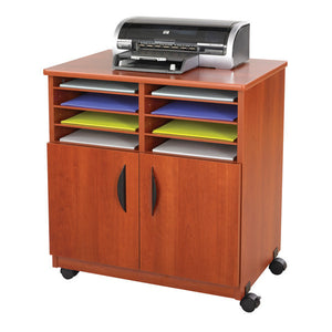 Wood Printer Cabinet Cart with Sorter Shelves