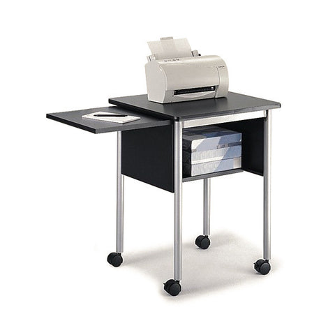 Mobile Printer Fax Stand with Slide-Out Shelf - Black