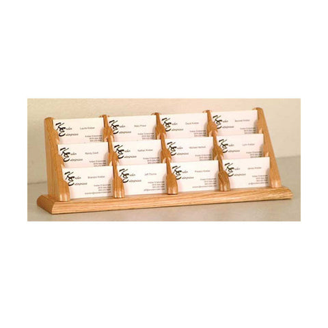 12-Business Card Oak Table Top Display