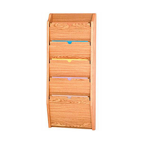 5 Pocket Wall Mounting Wood File Rack - Light Oak