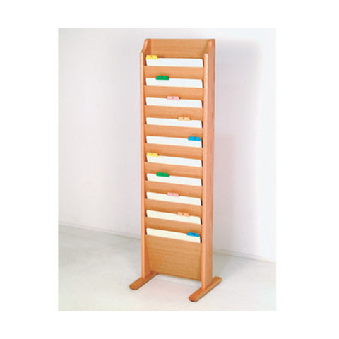 10 Pocket Freestanding Wood File Rack - Light Oak
