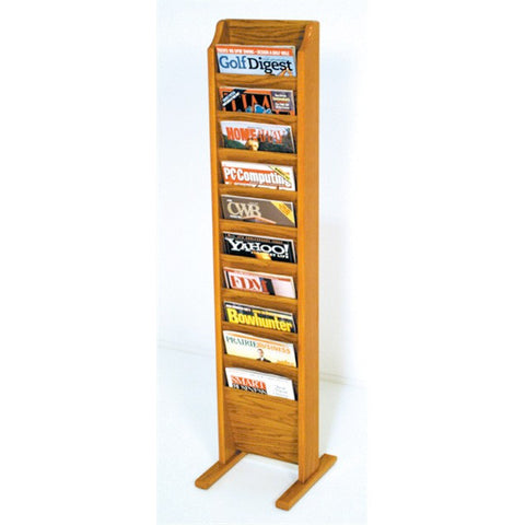 10 Pocket Freestanding Wood File Rack - Medium Oak