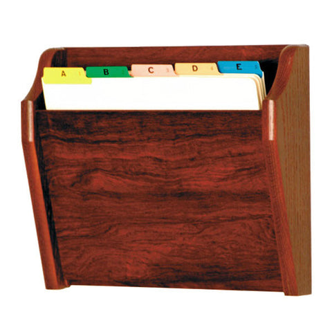 Single Pocket Slanted Wood File Holder - Mahogany