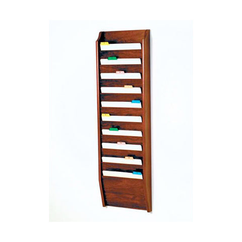 10 Pocket Wall Mounting Wood File Rack - Mahogany