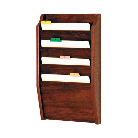 4 Pocket Wall Mounting Wood File Rack - Mahogany
