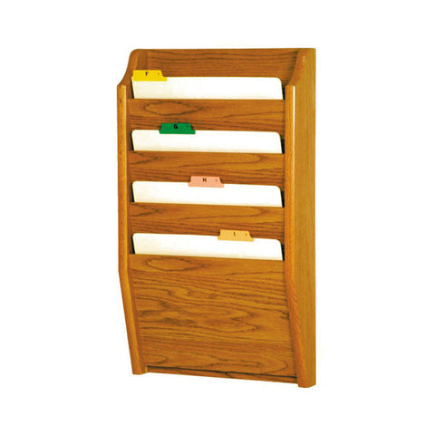 4 Pocket Wall Mounting Wood File Rack - Medium Oak
