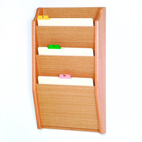 3 Pocket Wall Mounting Wood File Rack - Light Oak