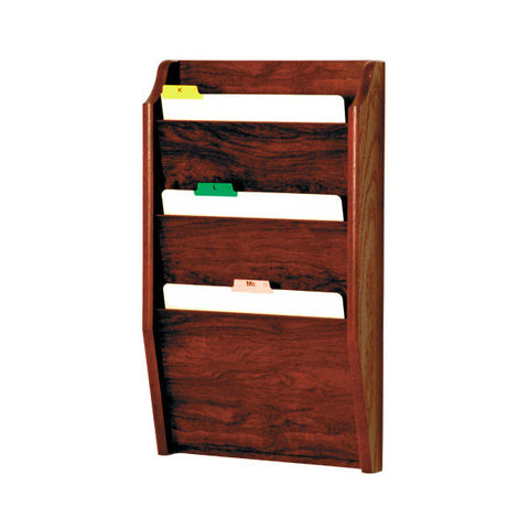 3 Pocket Wall Mounting Wood File Rack - Mahogany