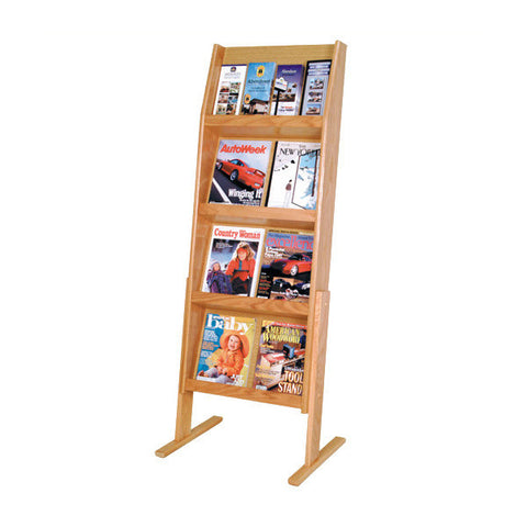 8-Magazine or 16-Brochure Oak Literature Display Rack