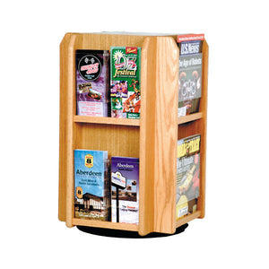 8-Magazine or 16-Brochure Oak Rotating Table Top Display
