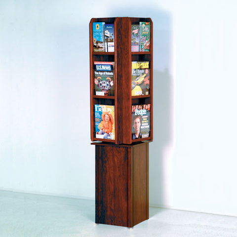 12-Magazine Rotating Display with Pedestal Base