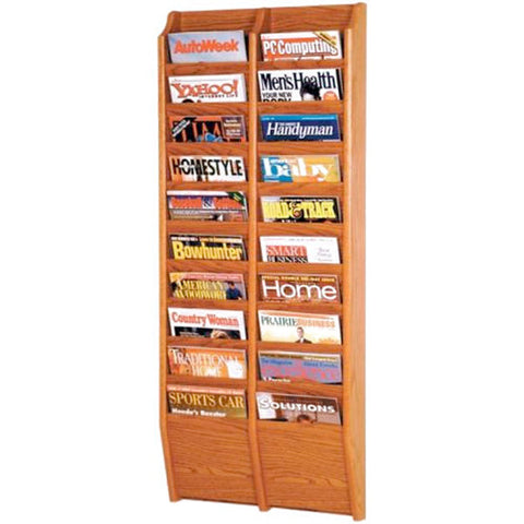 20-Magazine Cascading Oak Wall Rack