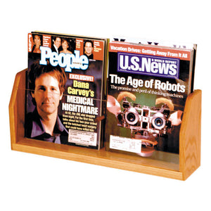 2-Magazine Oak Table Top Display
