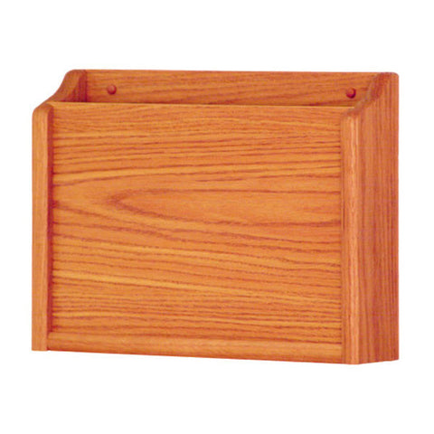Single Pocket Wall Mounting Privacy File Holder - Medium Oak