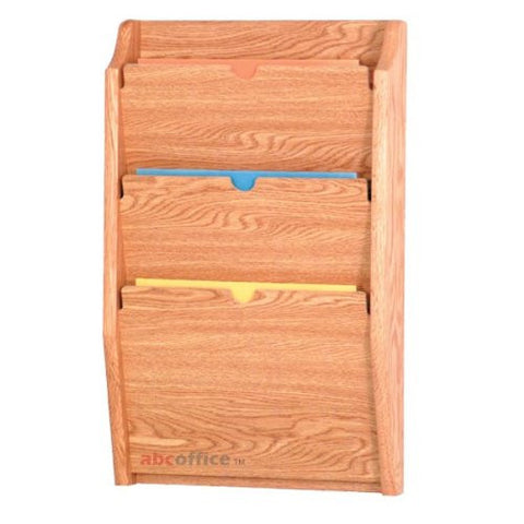 3 Pocket Wall Mounting Privacy File Holder - Light Oak