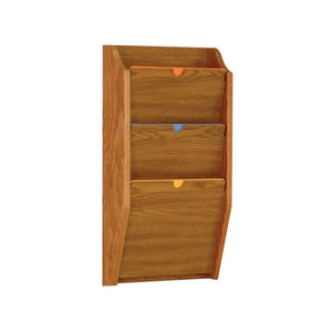 3 Pocket Wall Mounting Privacy File Holder - Medium Oak